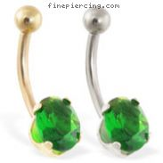 14K Gold belly ring with  emerald oval gem