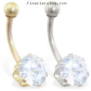14K Gold belly ring with large 8mm Cubic Zirconia