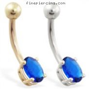 14K Gold belly ring with small Sapphire oval
