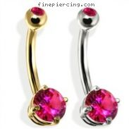 14K Gold Double Jeweled Belly Ring, Ruby