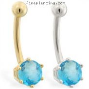 14K yellow gold belly button ring with 6-prong Aquamarine