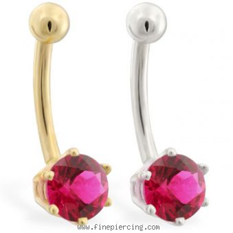 14k Yellow Gold Belly Button Ring With 6 Prong Ruby Body Piercing