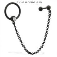 16 Gauge Black Coated Straight Barbell with 14 Gauge Jeweled Captive Ring On Chain