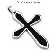 316L Stainless Steel Pendant. Black Cross
