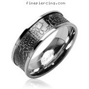 316L Stainless Steel Ring with Crocodile Skin Design Inlay