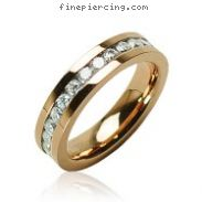 316L Surgical Stainless Steel Rings/ IP Rose Gold /Lined CZ Center