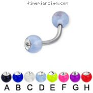 Acrylic ball with stone curved barbell, 14 ga