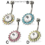 Belly button ring  with big gem framed by small color gems