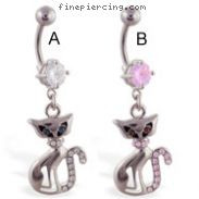 Belly button ring with dangling jeweled elegant cat