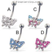 Belly button ring with jeweled butterfly