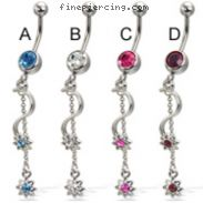 Belly button ring with small jeweled stars on wine and chain