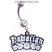 "Belly ring with dangling ""hawaiian\"" and flowers"