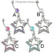 Belly ring with dangling plain and jeweled stars