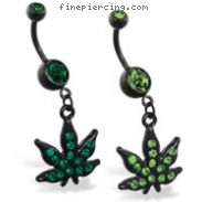 Black coated navel ring with dangling jeweled green pot leaf