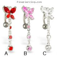 Butterfly with dangle reversed belly button rings
