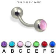 Curved barbell with hologram balls, 14 ga