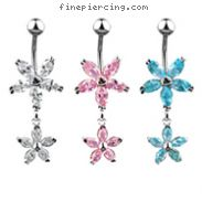 Dangling jeweled flower belly ring