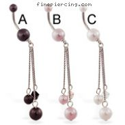 Double Pearl Belly Ring with Pearl Dangle