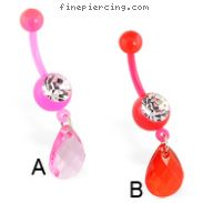 Flexible bioplast belly ring with dangling teardrop stone
