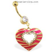 Gold Tone navel ring with large dangling jeweled striped heart