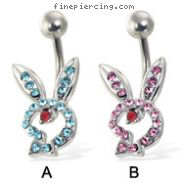 Hollow jeweled playboy bunny belly button ring