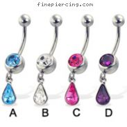 Jeweled belly button ring with dangling teardrop gem