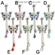 Jeweled butterfly belly ring with two dangling teardrop gems