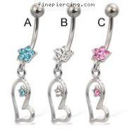 Jeweled flower navel ring with star on dangling asymmetric heart
