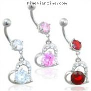 Jeweled navel ring with dangling jeweled heart with large gem