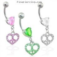 Jeweled peace heart belly ring