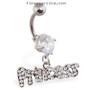 "Navel ring with dangling ""Princess\"""