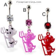 Navel ring with dangling colored devil baby