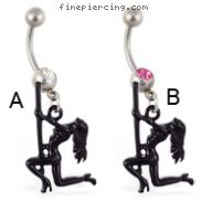 Navel ring with dangling dancer on pole