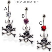 Navel ring with dangling devil skull with bones