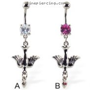 Navel ring with dangling dove with jeweled heart