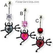 Navel ring with dangling jeweled devil heart and trident