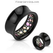 Pair Of Abalone Pattern Inlayed Inside Of Black Acrylic Saddle Tunnels