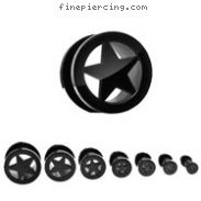 Pair Of Black Titanium Plated Screw Fit Tunnels with Star