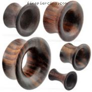 Pair of Organic brown wood tunnel with large flared front