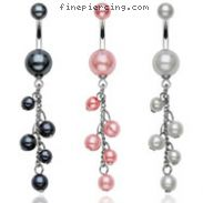 Pearl belly ring with dangling pearl beads
