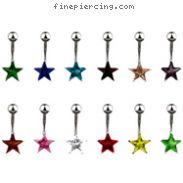 Small jeweled star belly ring