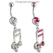 Steel Cz Paved Music Note Belly Ring with Skull
